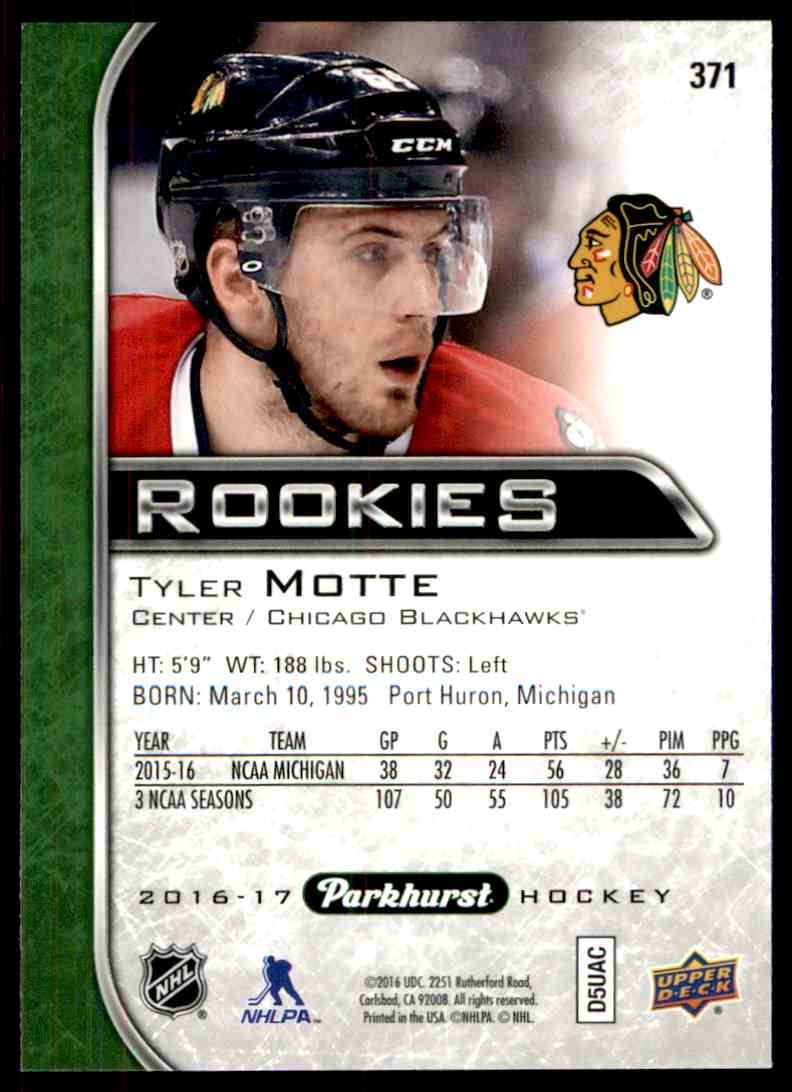 2016-17 Parkhurst Rookies Tyler Motte #371 card back image
