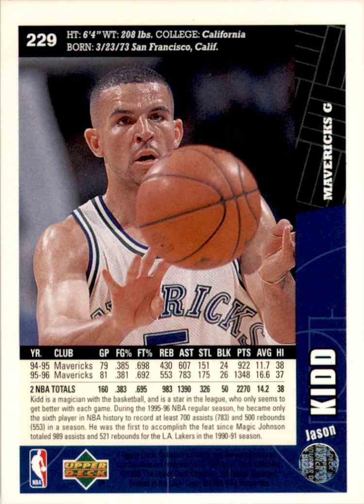 1996-97 Collector's Choice Jason Kidd #229 card back image