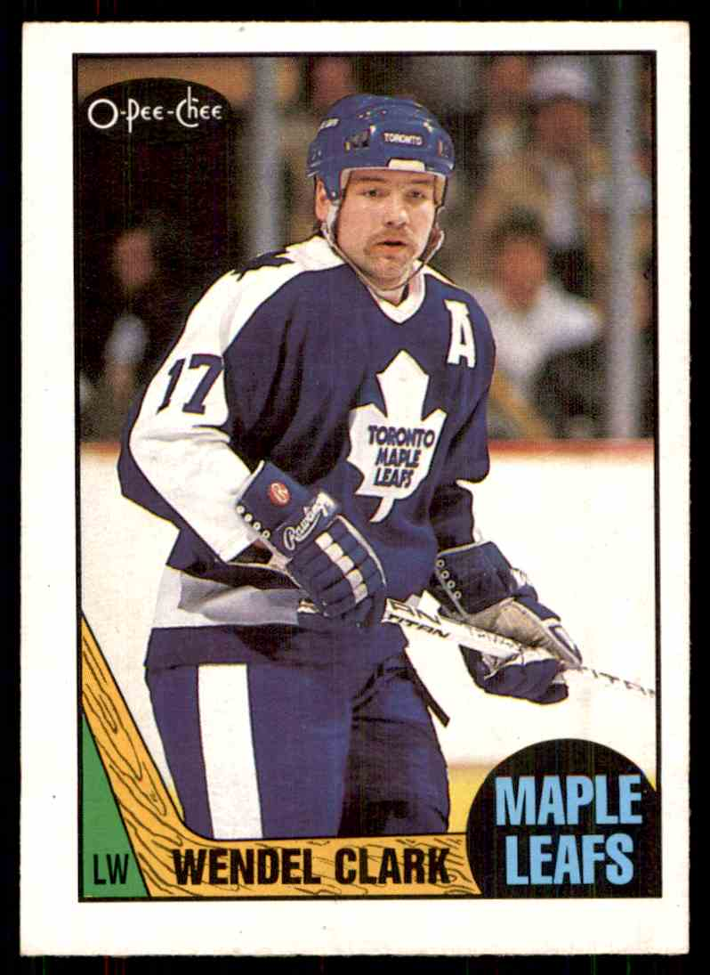 1987-88 O-Pee-Chee Wendel Clark #12 card front image