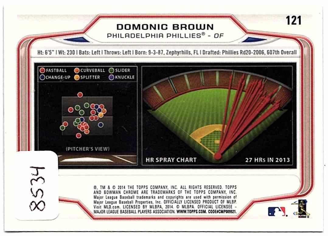2014 Bowman Chrome Domonic Brown #121 card back image