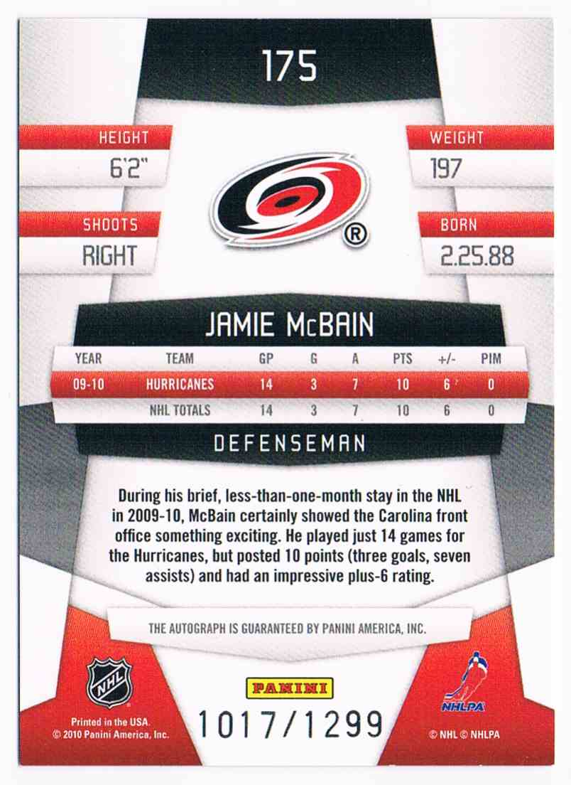 2010-11 Certified Freshman Signatures Jamie McBain #175 card back image