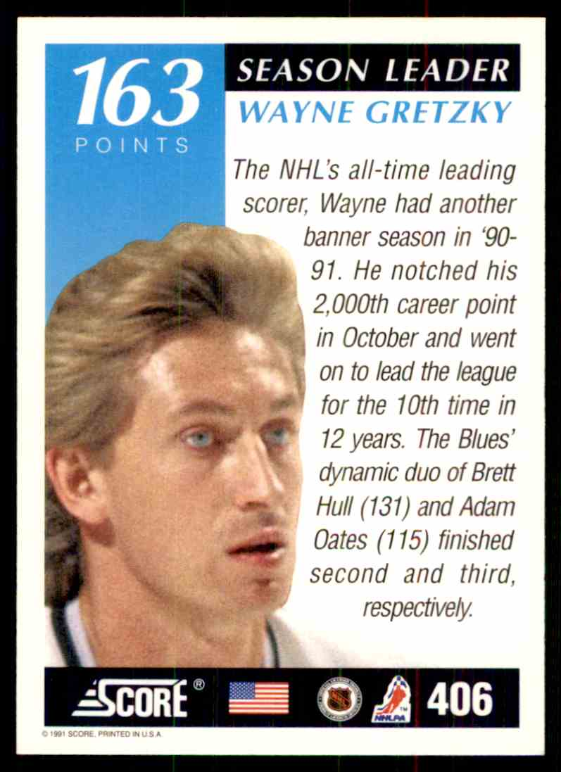 1991-92 Score Season Leader Wayne Gretzky #406 card back image