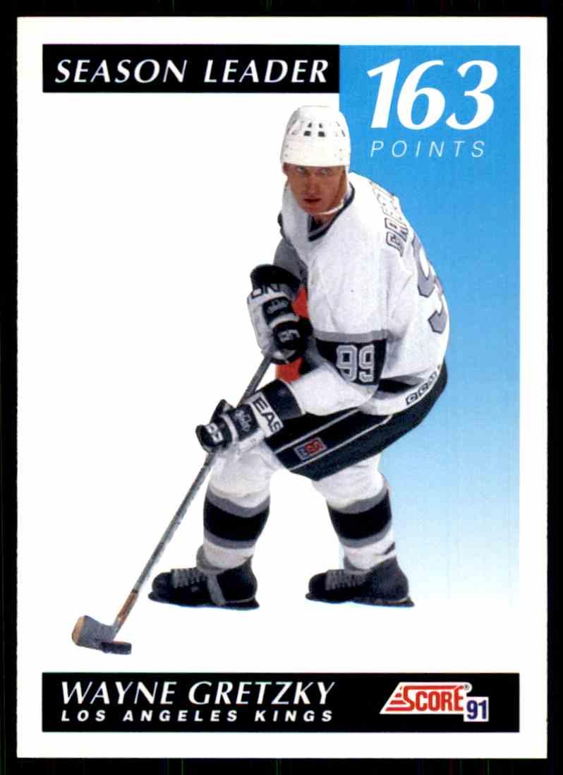 1991-92 Score Season Leader Wayne Gretzky #406 card front image