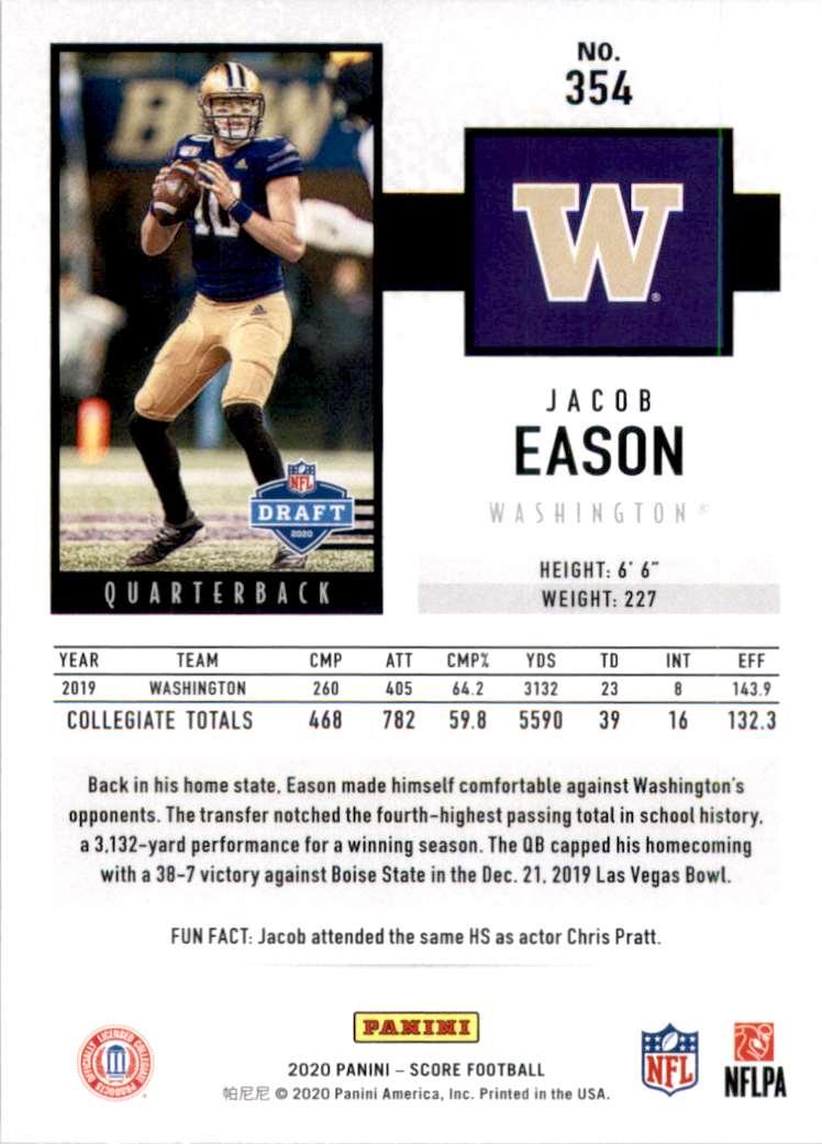 2020 Score Jacob Eason #354 card back image