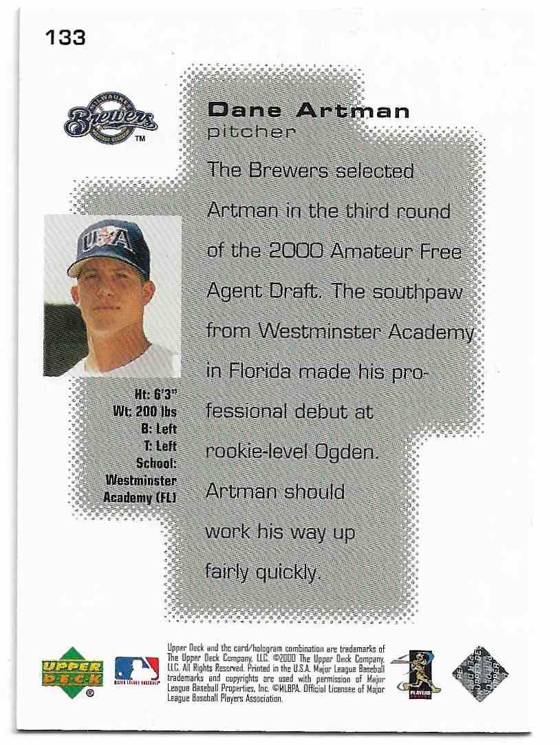 2000 Upper Deck Pros & Prospects Dane Artman #133 card back image