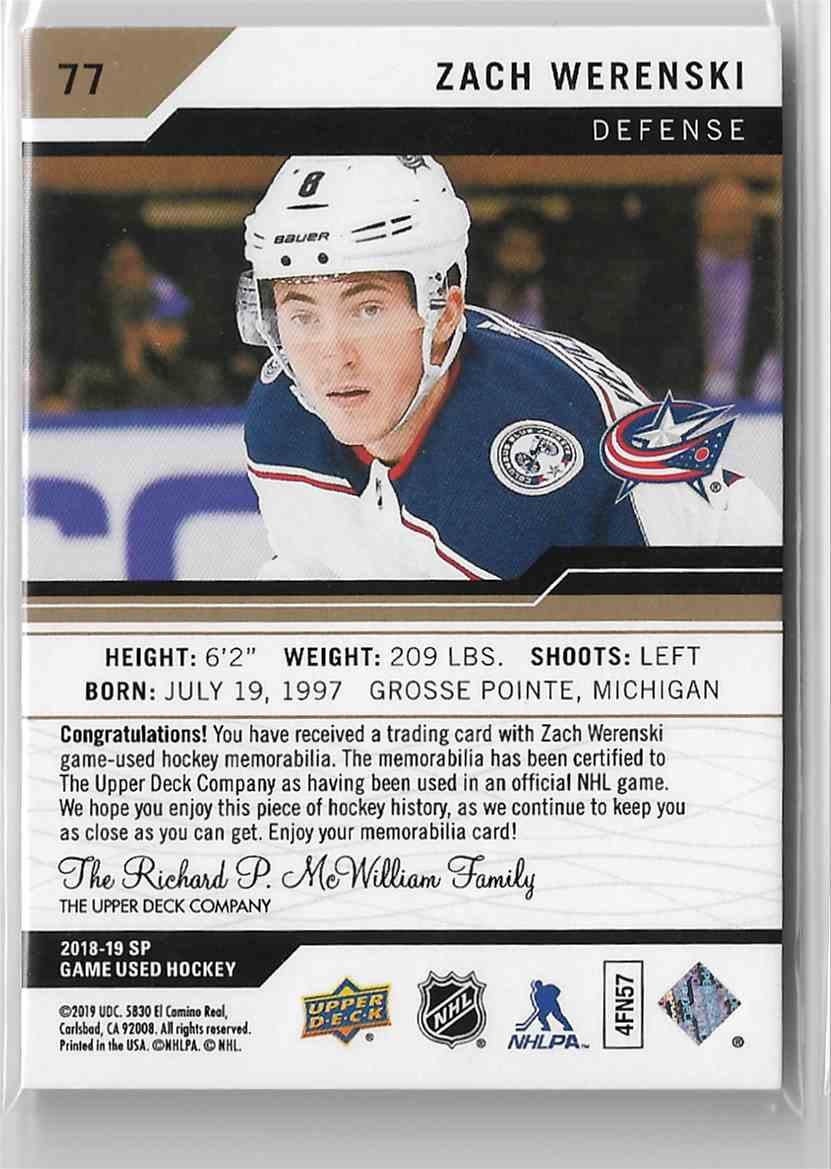2018-19 SP Game Used Edition Gold Zach Werenski #77 card back image