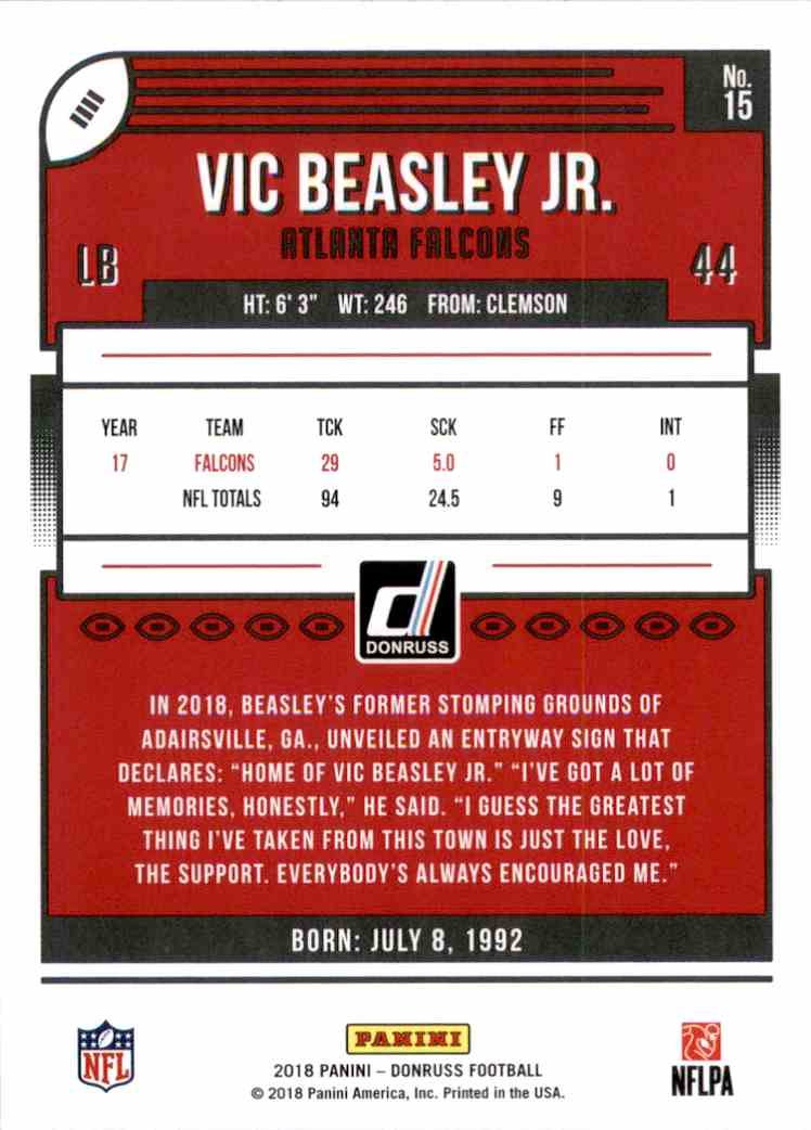 2018 Donruss VIC Beasley JR. #15 card back image