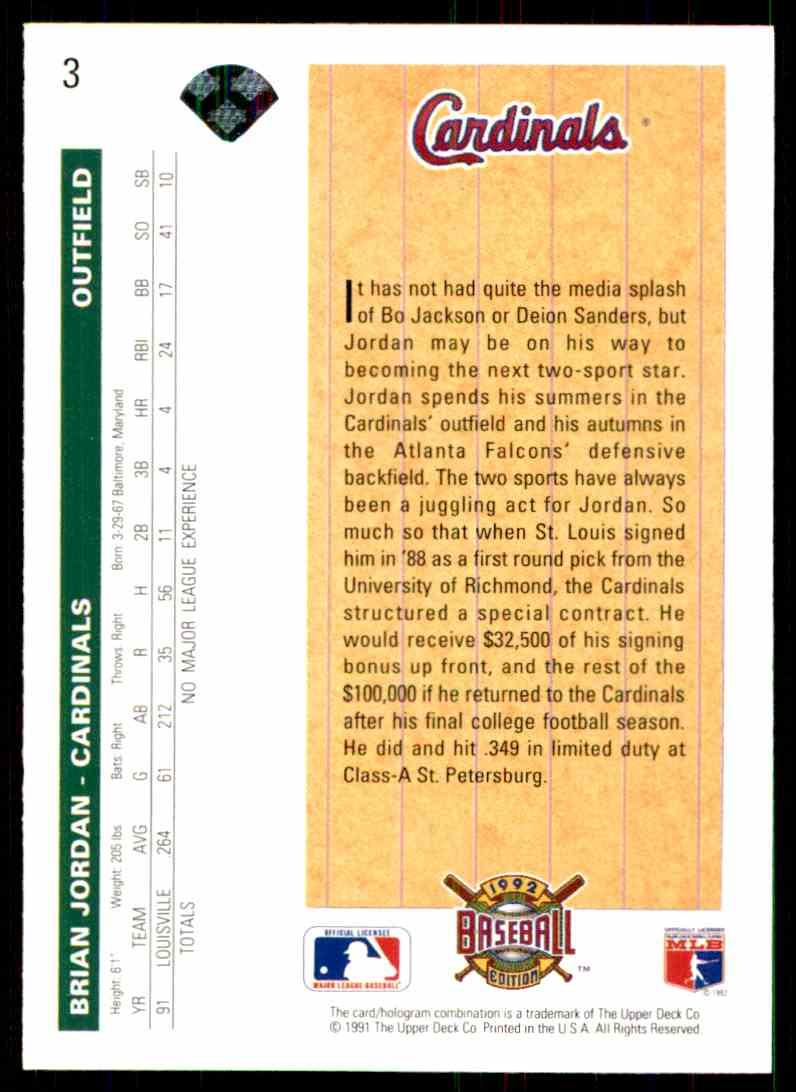 1992 Upper Deck Brian Jordan #3 card back image