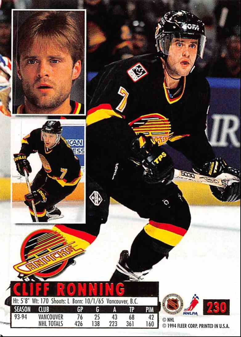 1994-95 Ultra Cliff Ronning #230 card back image