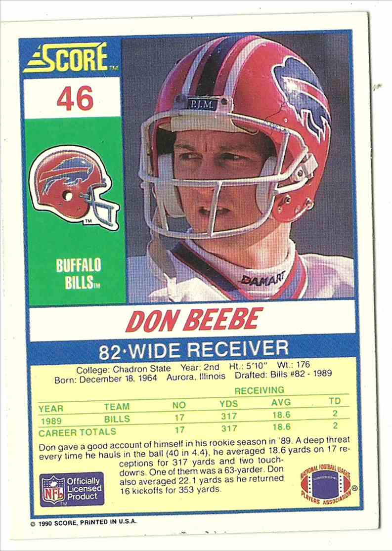 1990 Score Don Beebe #46 card back image