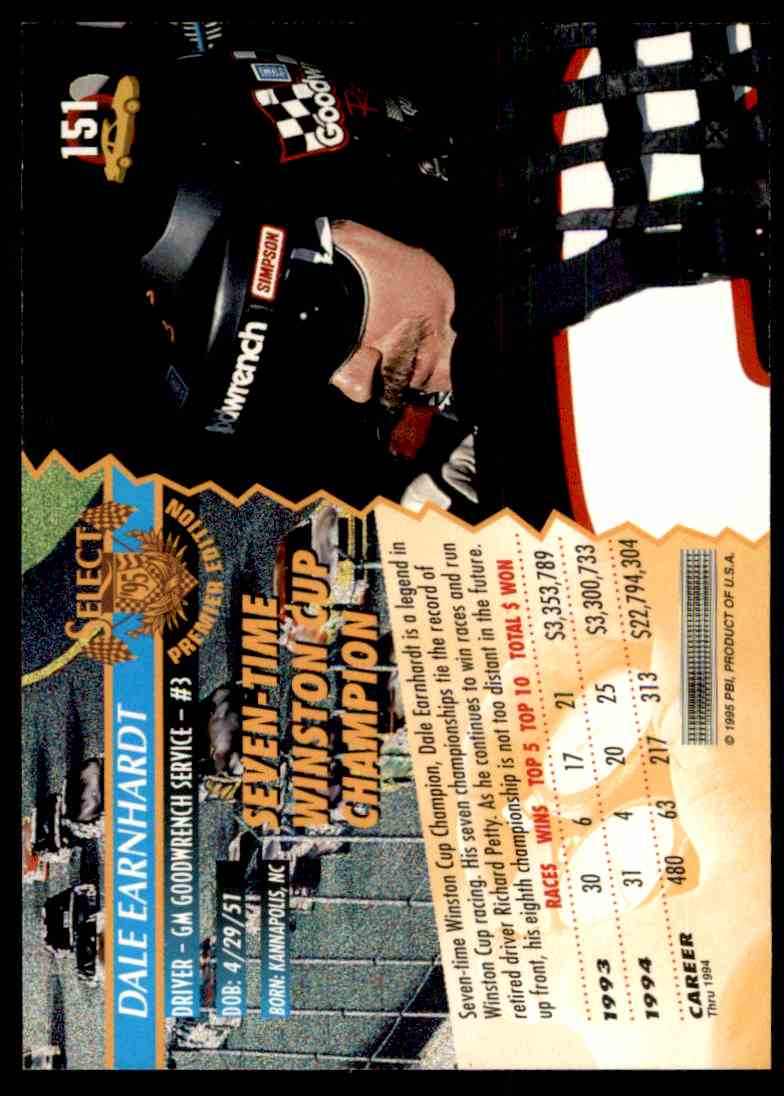 1995 Select Dale Earnhardt #151 card back image