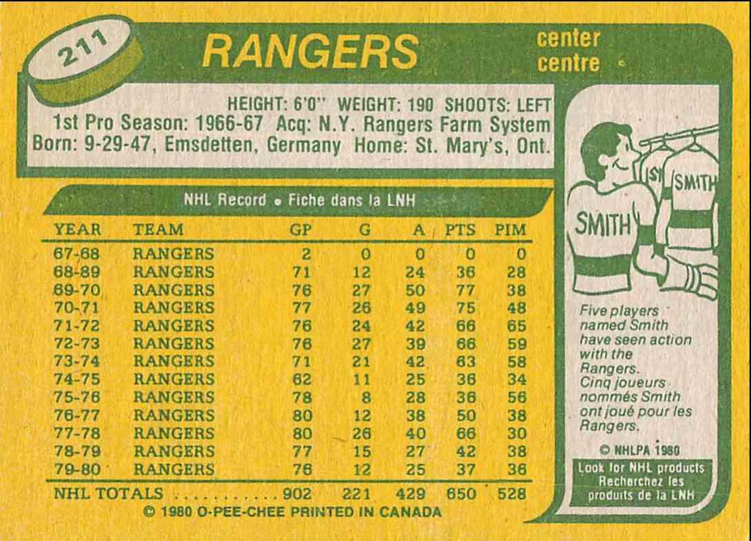 1980-81 O-Pee-Chee Walt Tkaczuk #211 card back image