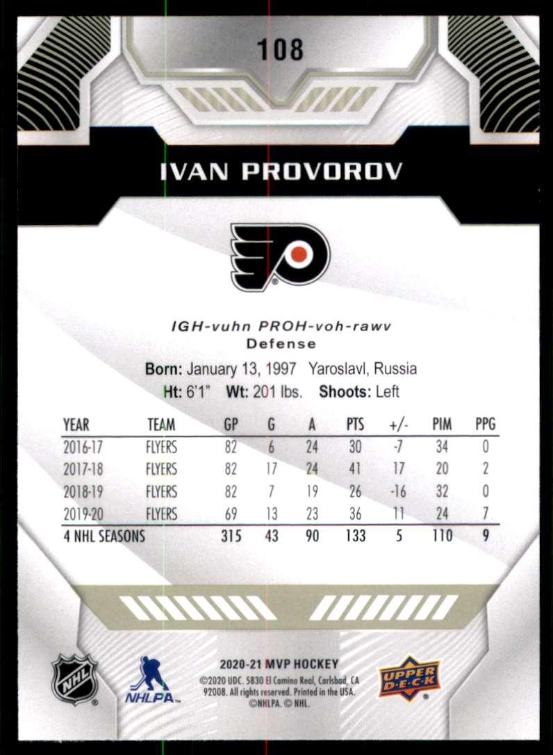 2020-21 Upper Deck MVP Ivan Provorov #108 card back image