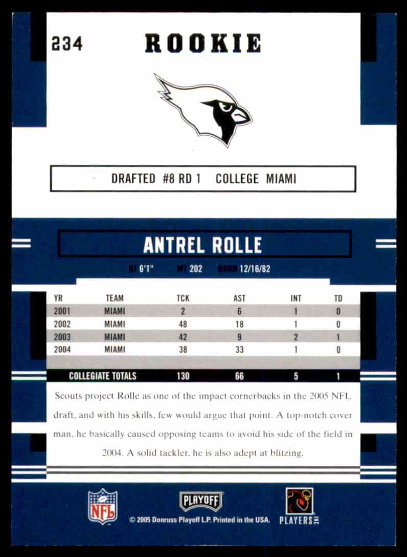 2005 Playoff Prestige Antrel Rolle RC #234 card back image