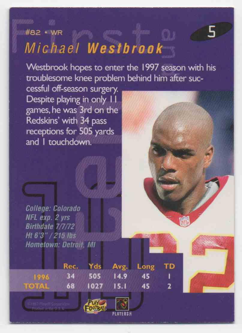 1997 Playoff First & Ten Michael Westbrook #5 card back image