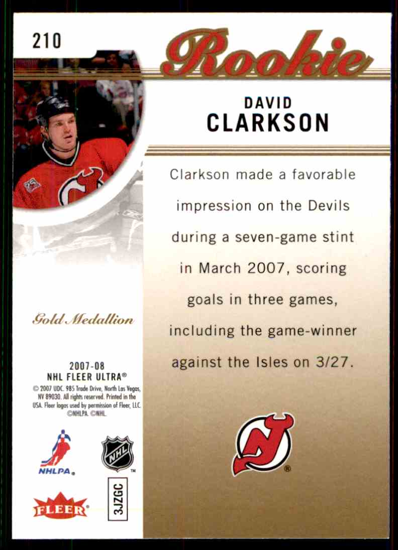 2007-08 Ultra Gold Medallion Rookie David Clarkson #210 card back image