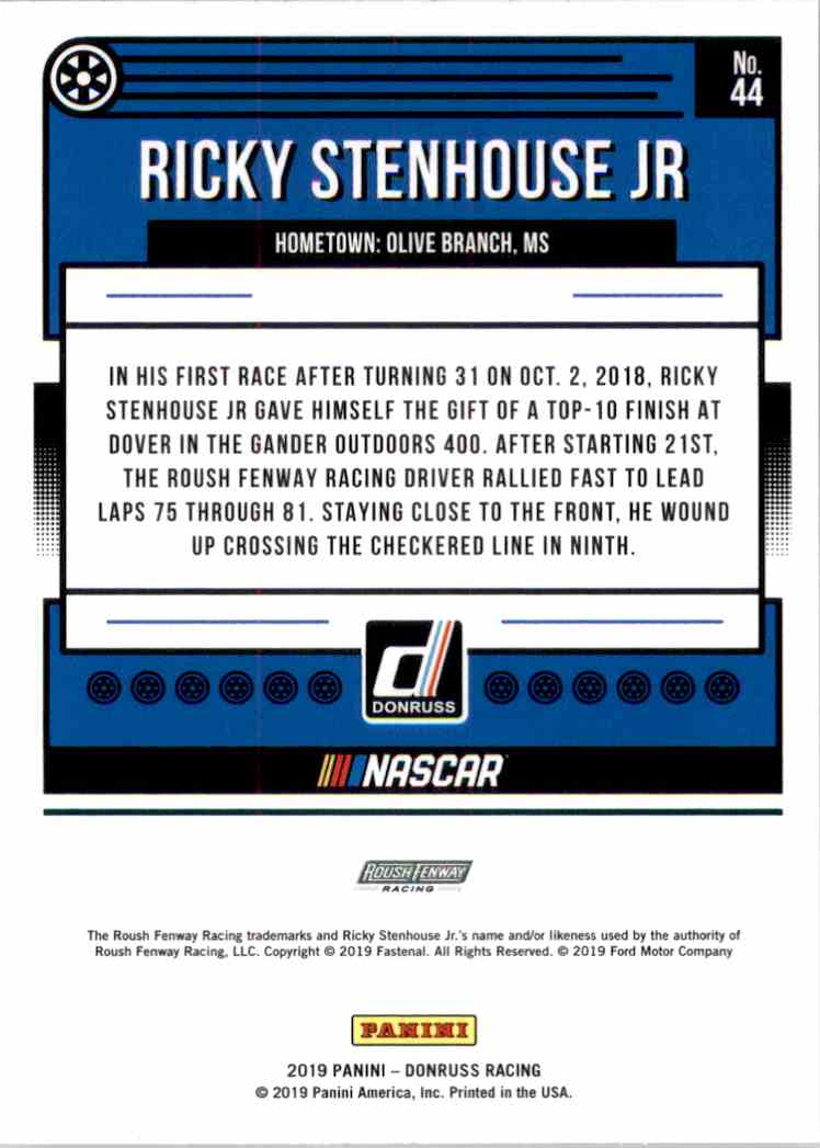 2019 Donruss Silver Ricky Stenhouse JR #44 card back image