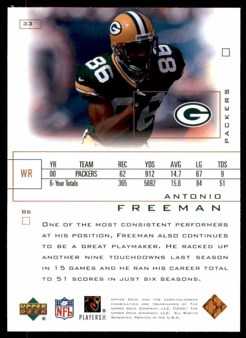 2001 Upper Deck Pros And Prospects Antonio Freeman #33 card back image