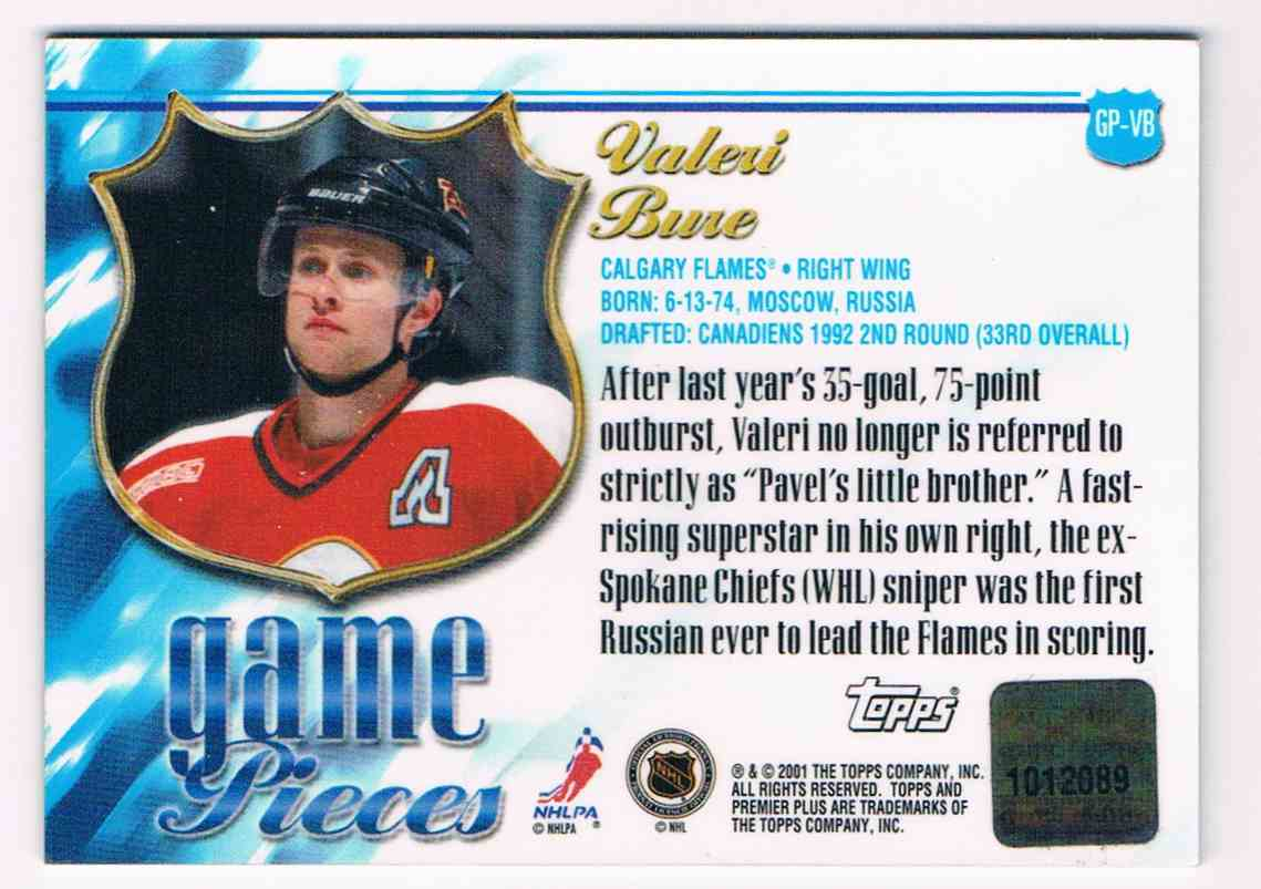 2000-01 Topps Topps Premier Plus Game Pieces Valeri Bure #GP-VB card back image