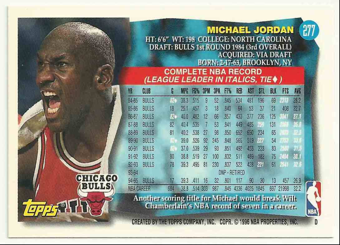 1996-97 Topps Michael Jordan #277 card back image