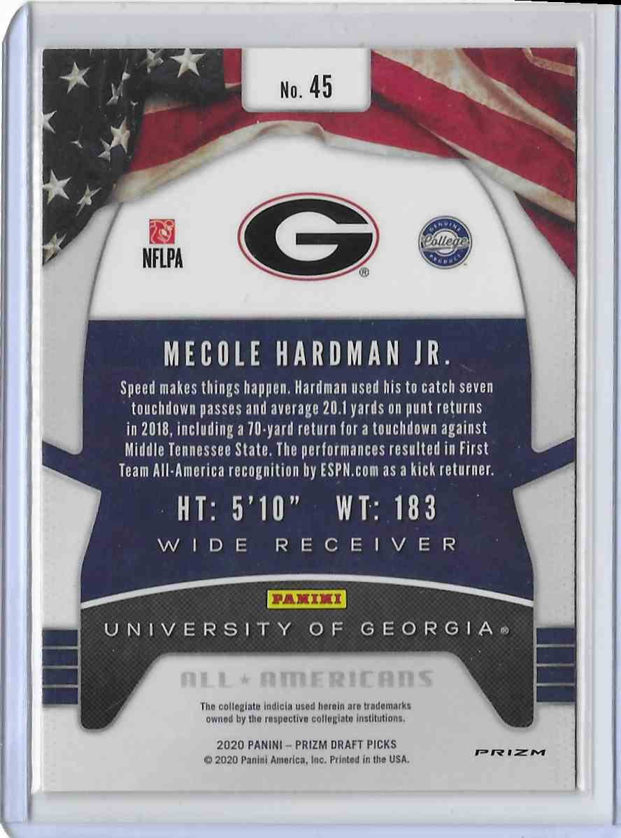 2020 Panini Prizm Draft Picks Red Mecole Hardman JR #45 card back image