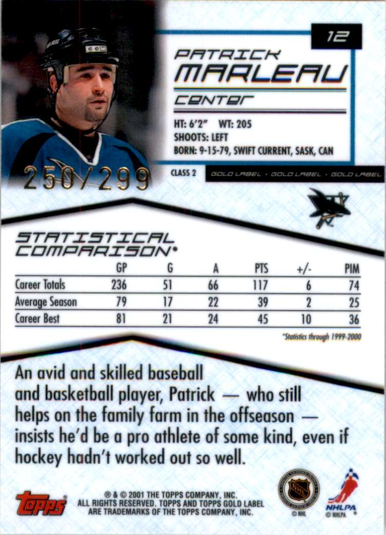 2000-01 Topps Gold Label Class 2 Gold Patrick Marleau #12 card back image