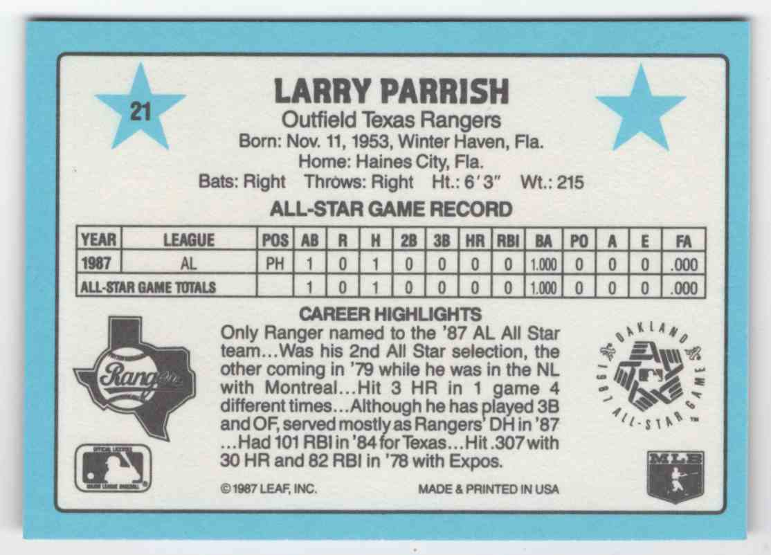 1988 Donruss All-Stars Larry Parrish #21 card back image