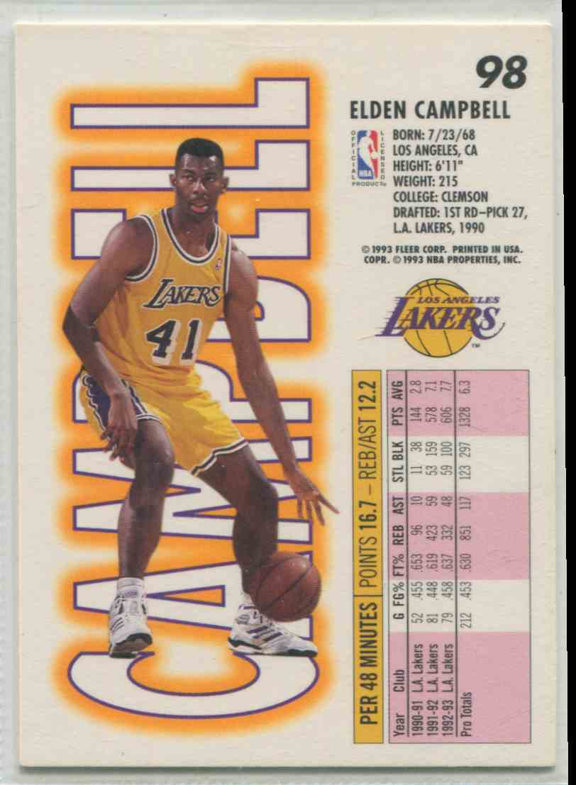 1993 94 Fleer Elden Campbell 98 on Kronozio