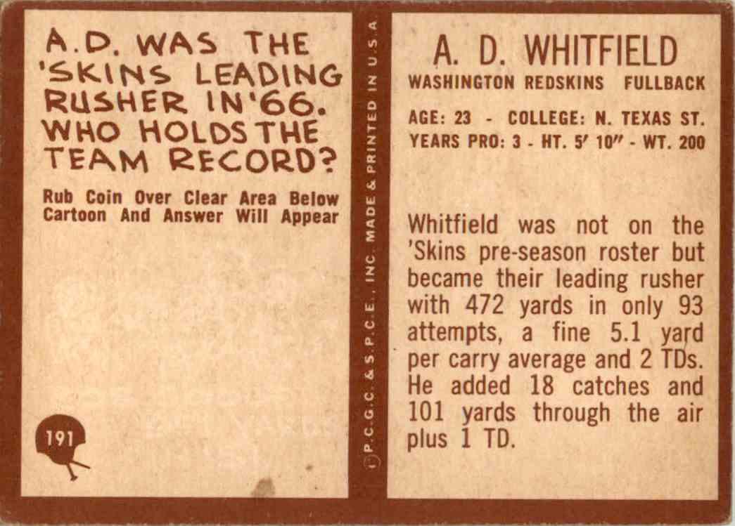 1967 Philadelphia A. D. Whitfield #191 card back image