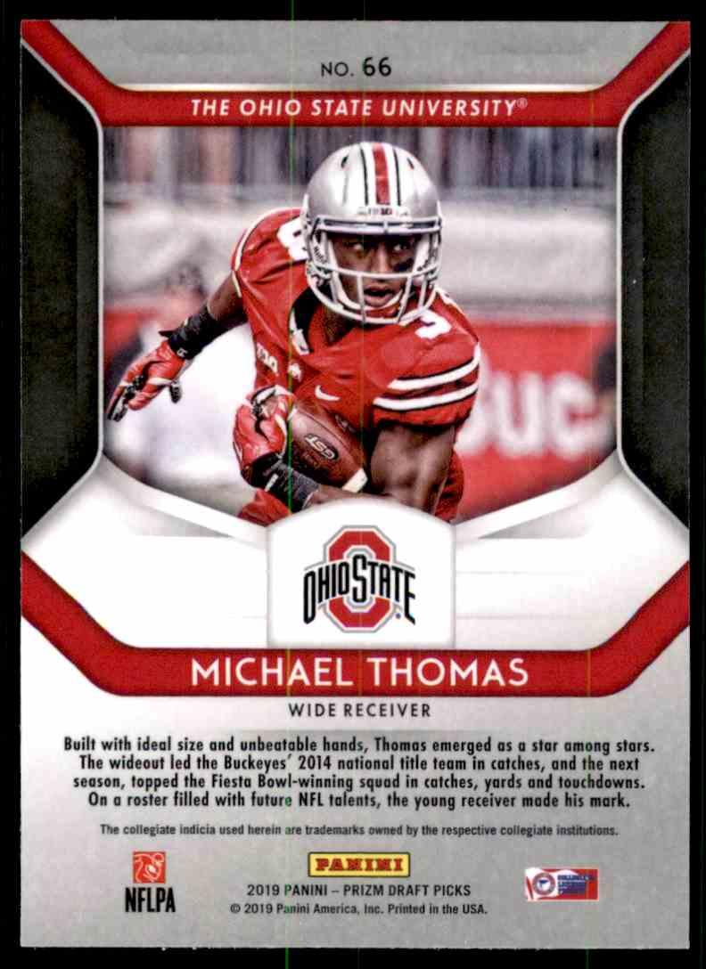2019 Panini Prizm Draft Picks Michael Thomas #66 card back image