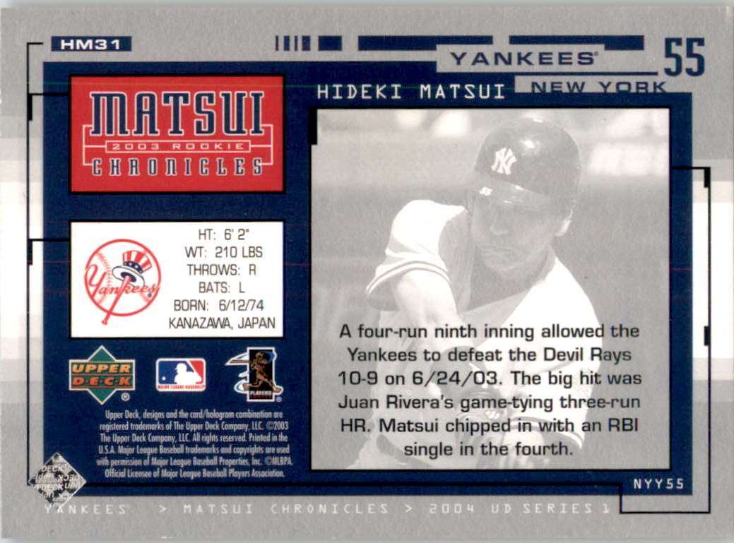 2004 Upper Deck Matsui Chronicles Hideki Matsui 6/24/03 #HM31 card back image