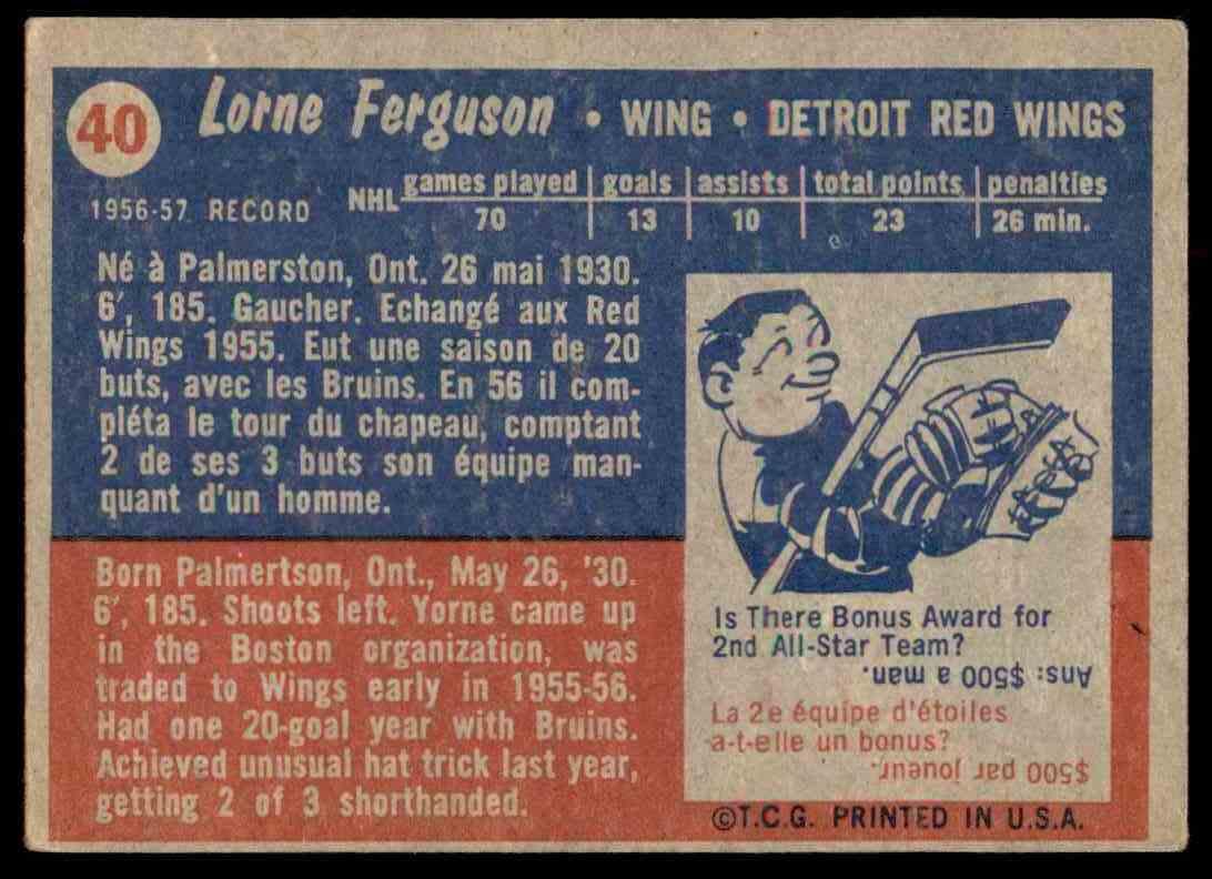1957-58 Topps Lorne Ferguson #40 card back image