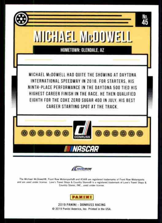 2019 Donruss Michael McDowell #45 card back image