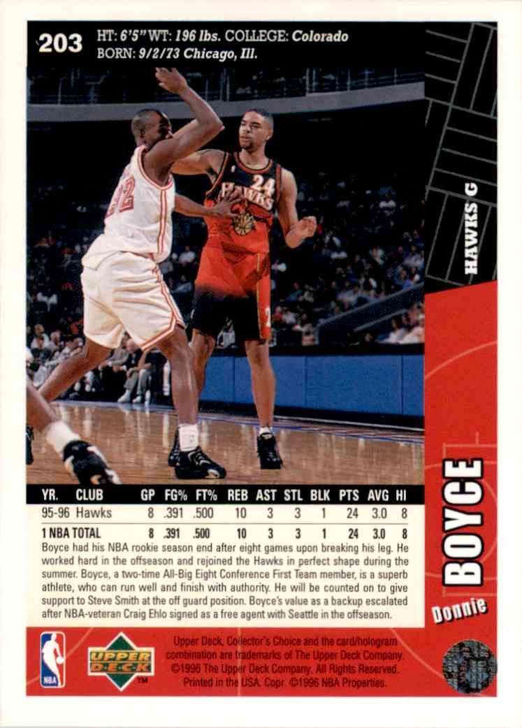 1996-97 Collector's Choice Donnie Boyce #203 card back image