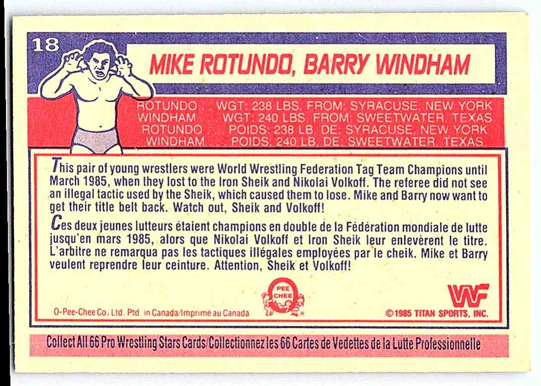 1985 O-Pee-Chee WWF Rotundo &
