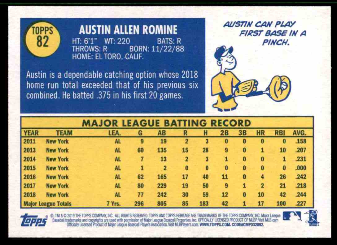 2019 Topps Heritage Austin Romine #82 card back image
