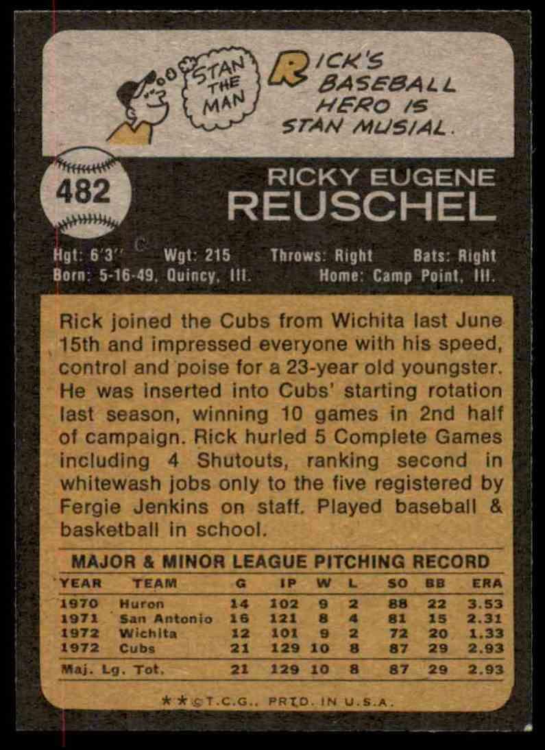 1973 Topps Rick Reuschel #482 card back image
