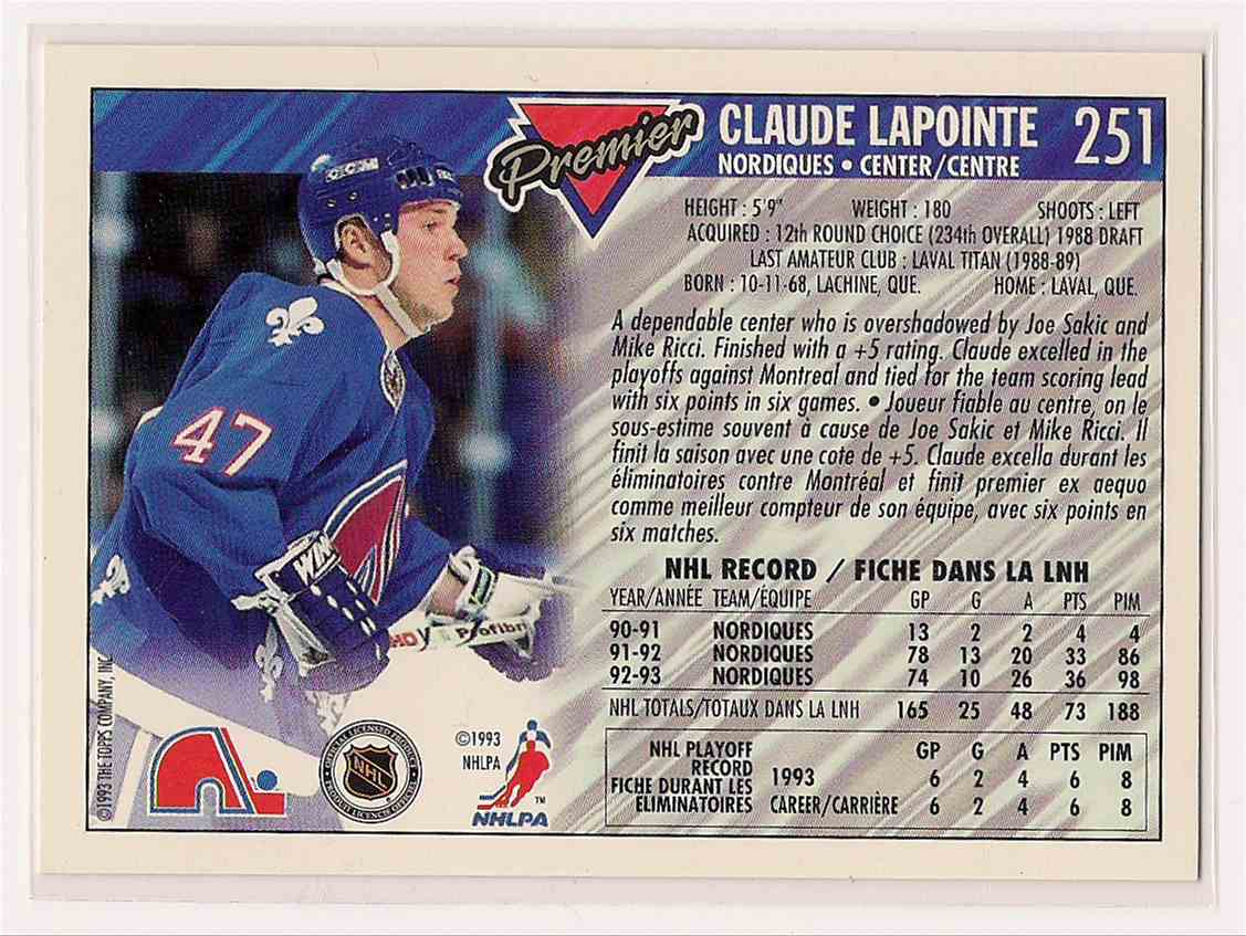 1993-94 OPC O-Pee-Chee Premier Gold Claude LaPointe #251 card back image