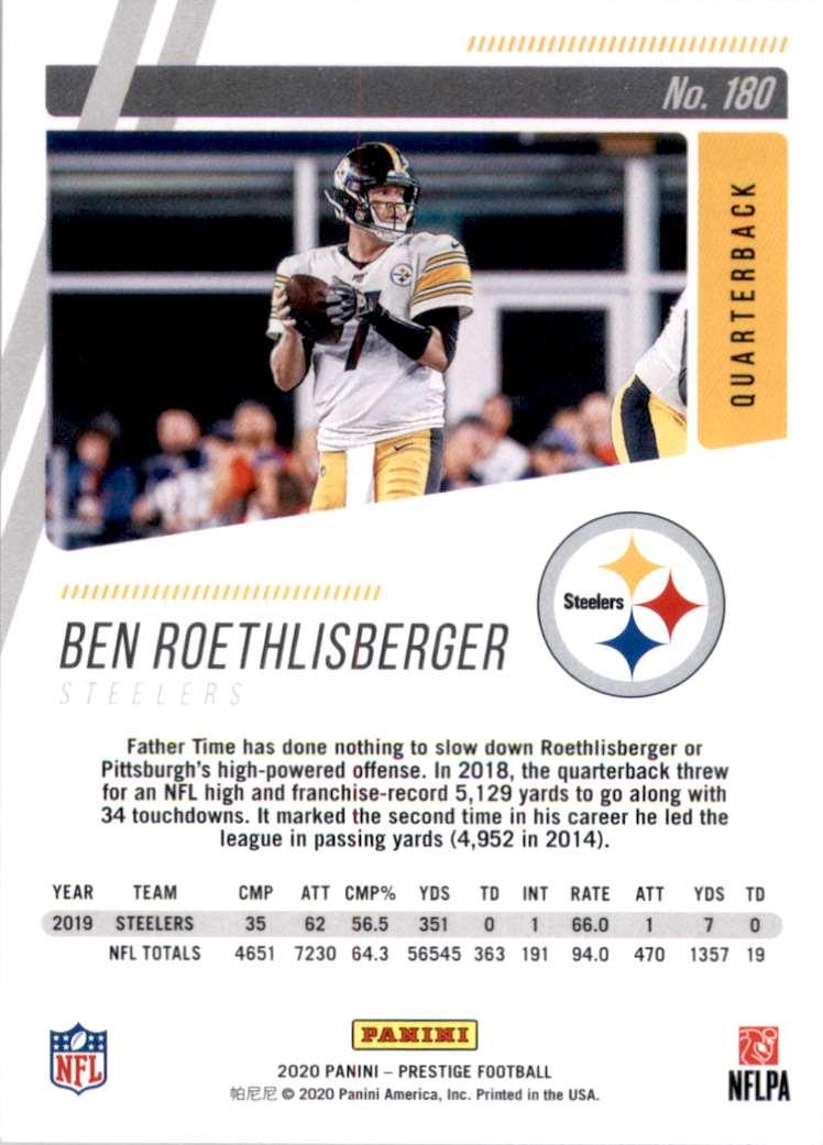 2020 Prestige Ben Roethlisberger #180 card back image