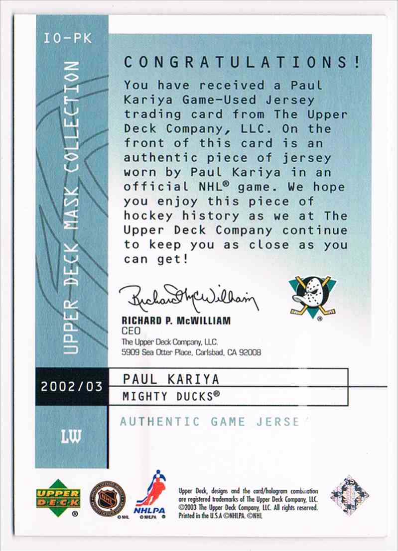 2002-03 Upper Deck UD Mask Collection Instant Offense Jerseys Paul Kariya #IO-PK card back image