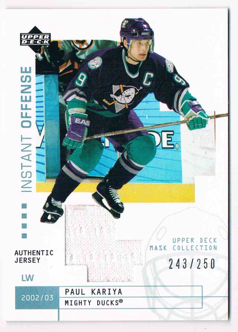 2002-03 Upper Deck UD Mask Collection Instant Offense Jerseys Paul Kariya #IO-PK card front image