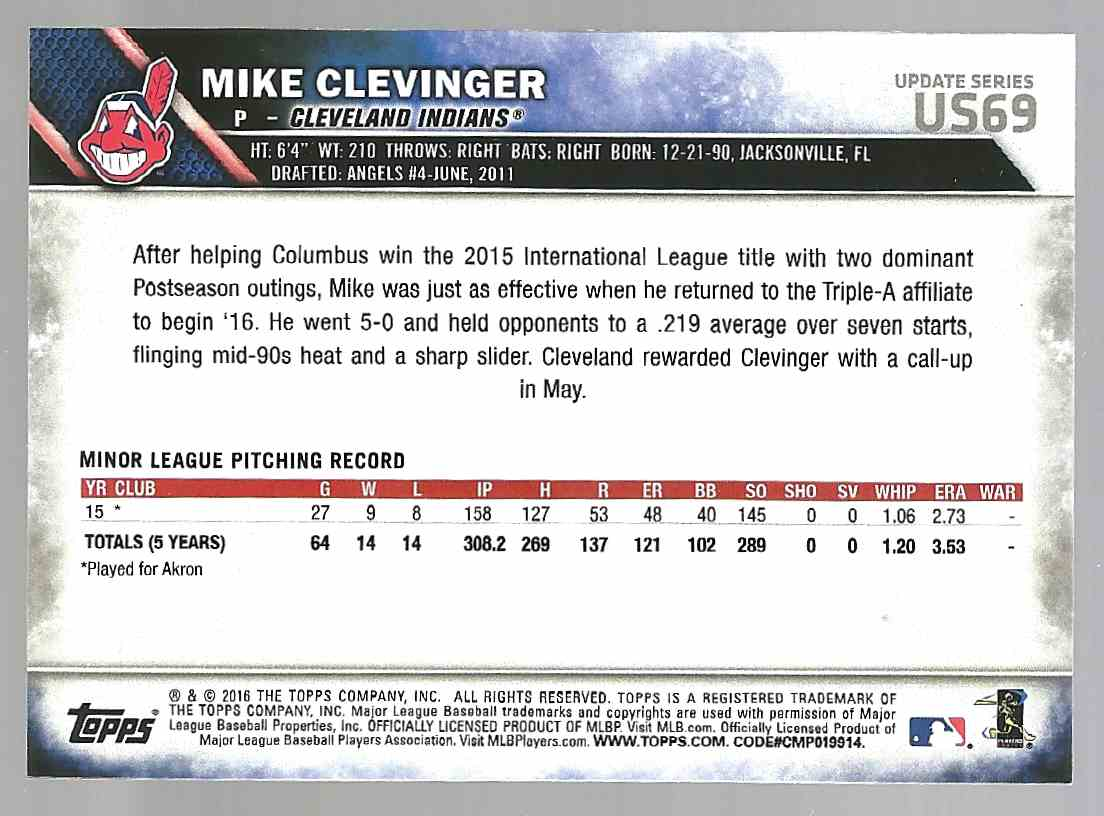2016 Topps Update Mike Clevinger #US69 card back image