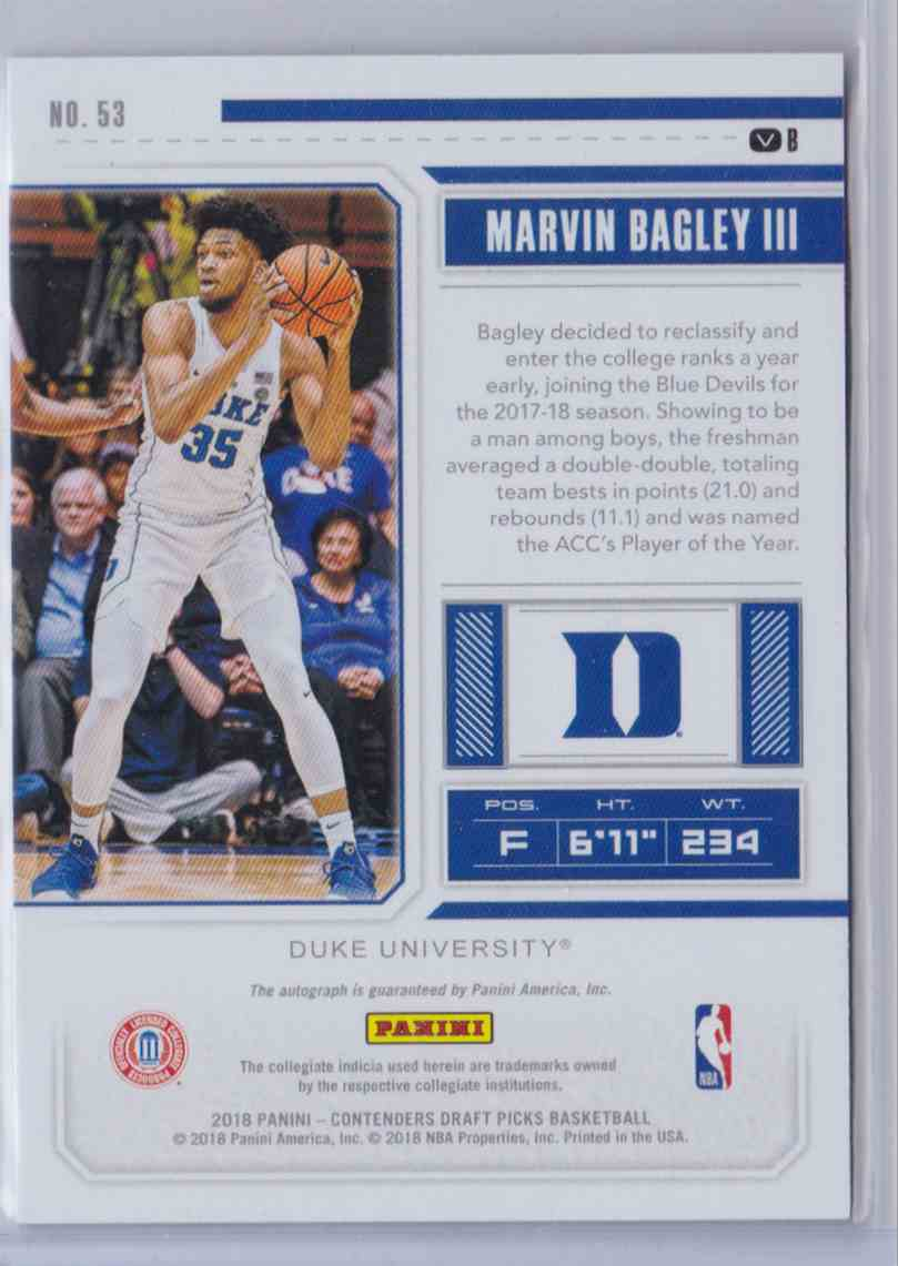 2018-19 Contenders Draft Picks Playoff Ticket Rps Variation B Marvin Bagley III #53 card back image