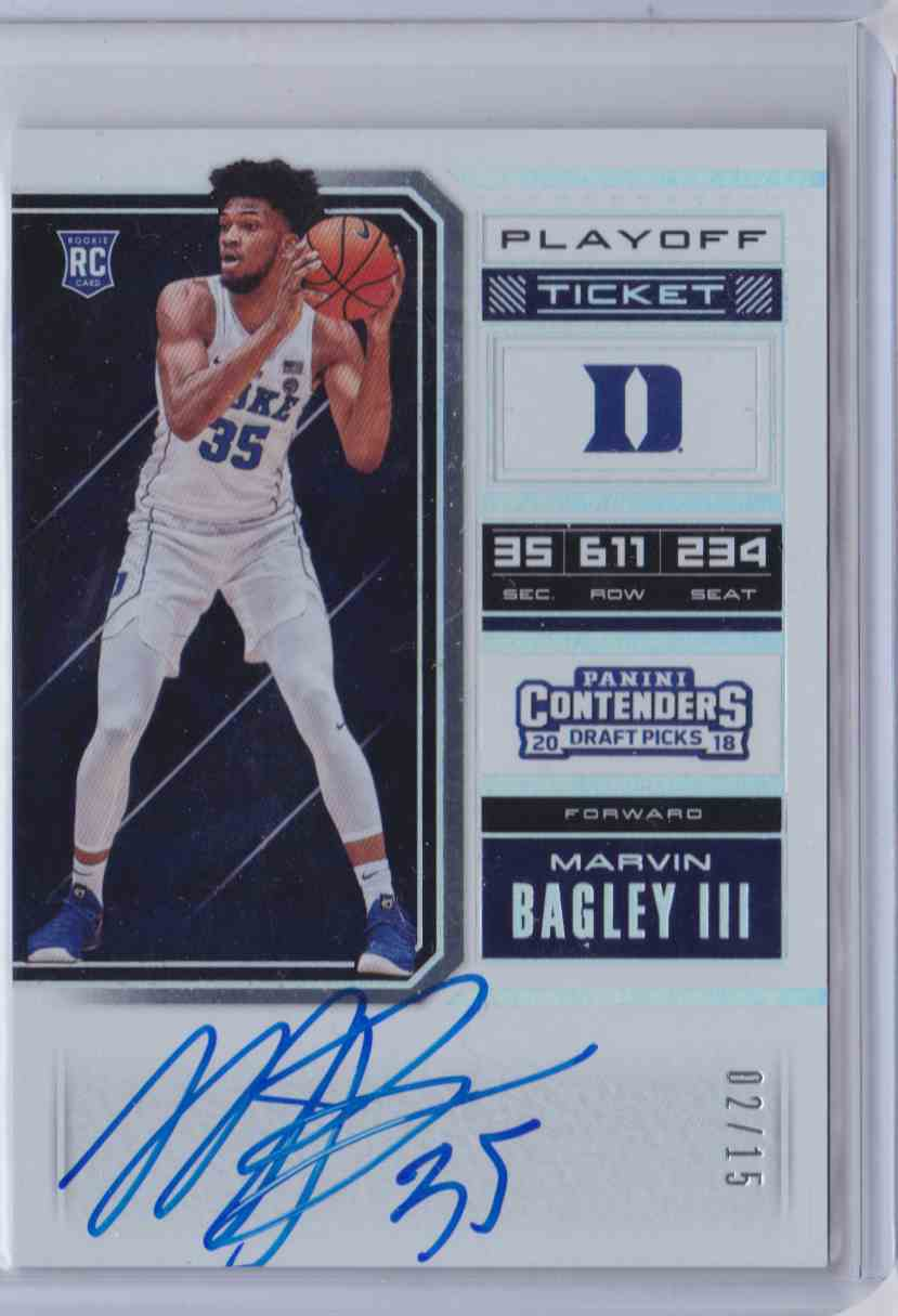 2018-19 Contenders Draft Picks Playoff Ticket Rps Variation B Marvin Bagley III #53 card front image