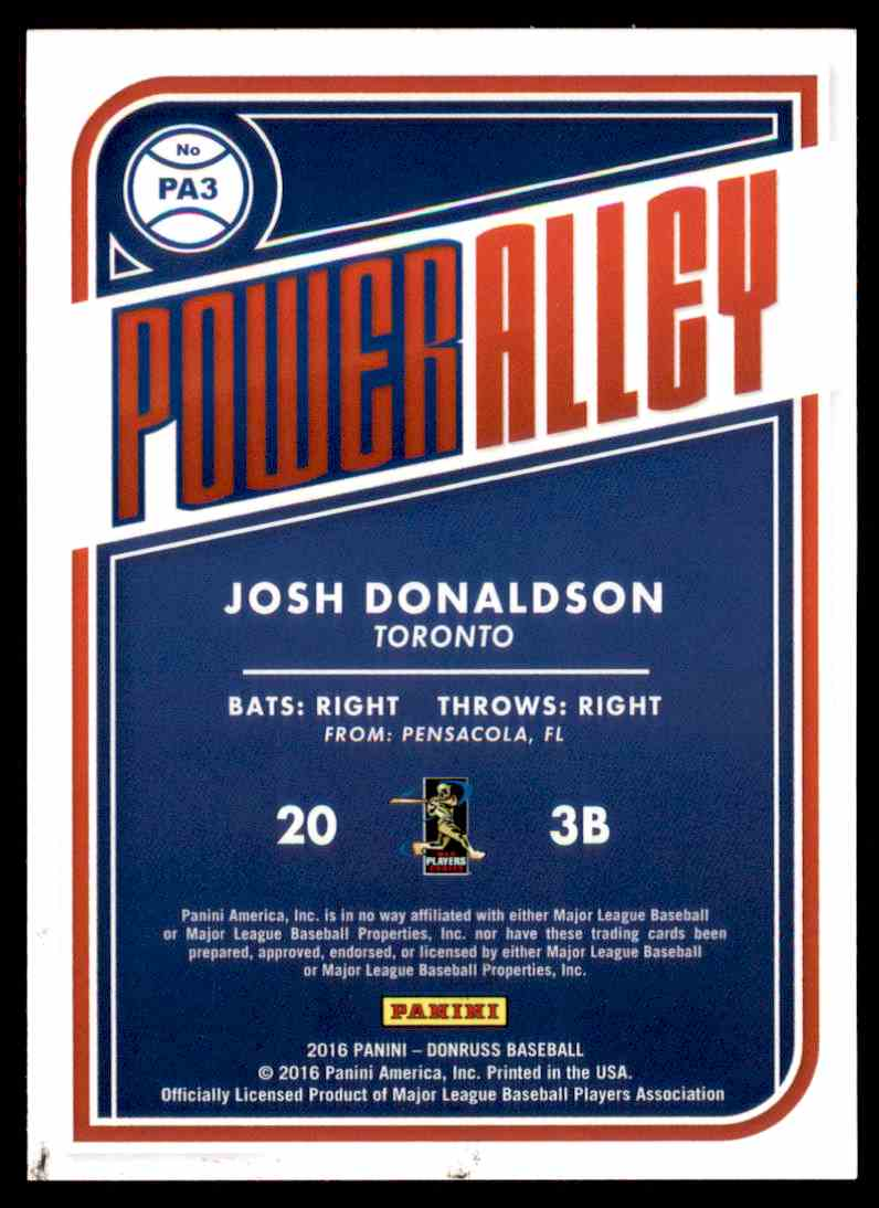 2016 Donruss Power Alley Josh Donaldson #PA3 card back image