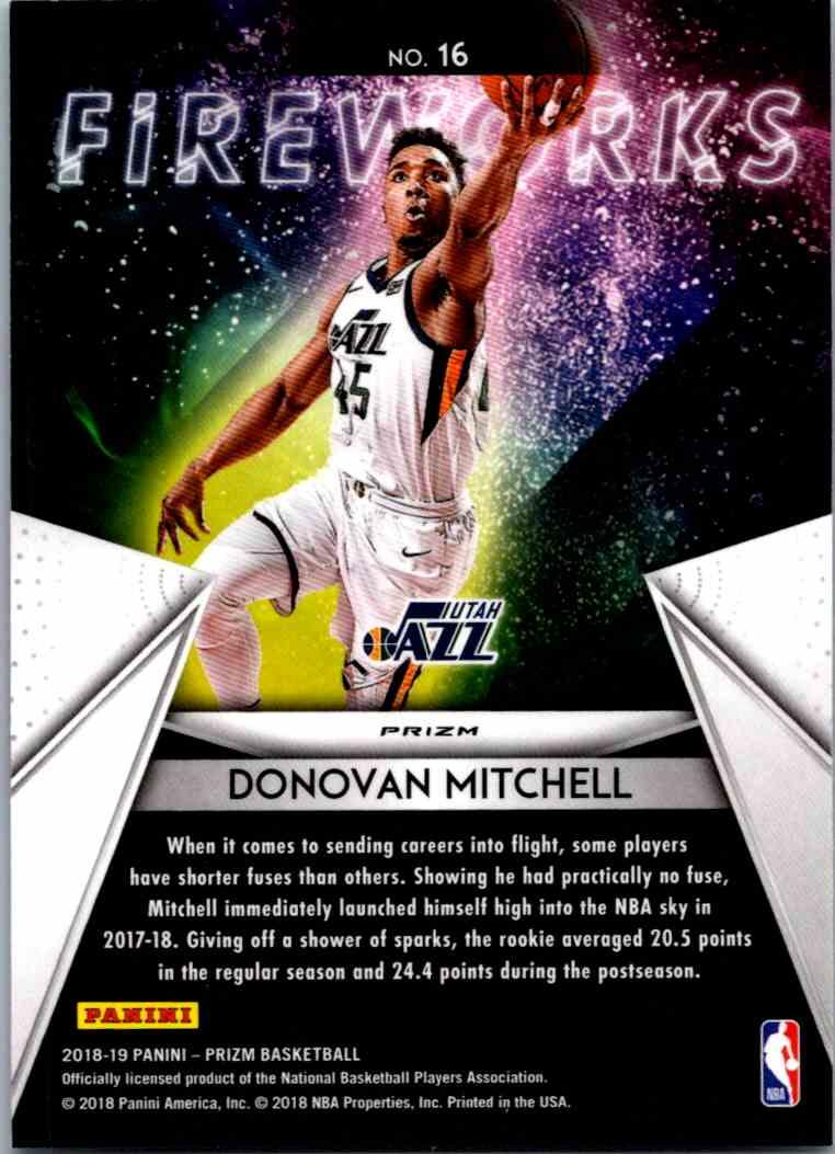 2018-19 Prizm Fireworks Hyper Donovan Mitchell card back image