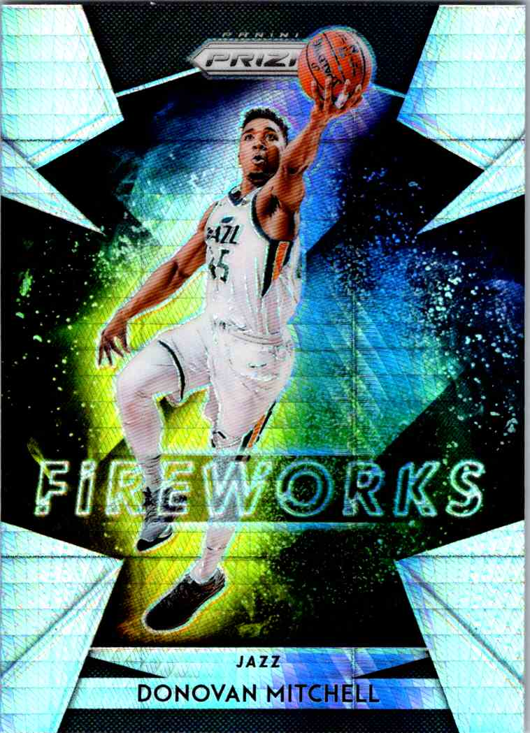2018-19 Prizm Fireworks Hyper Donovan Mitchell card front image