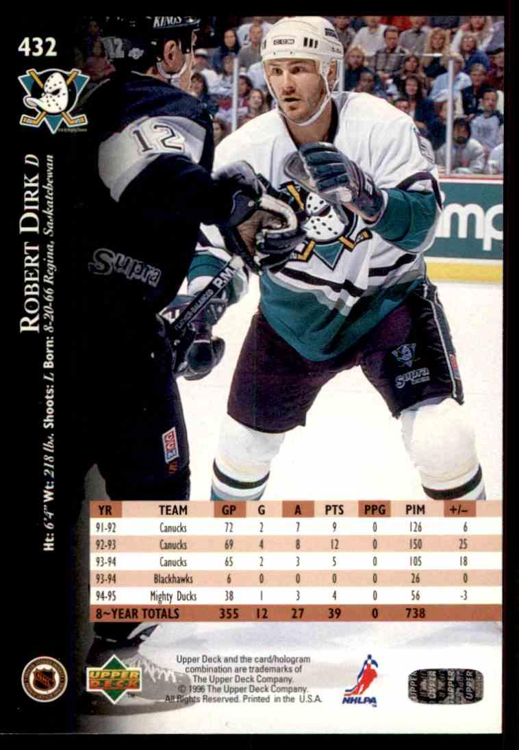 1995-96 Upper Deck Robert Dirk #432 card back image