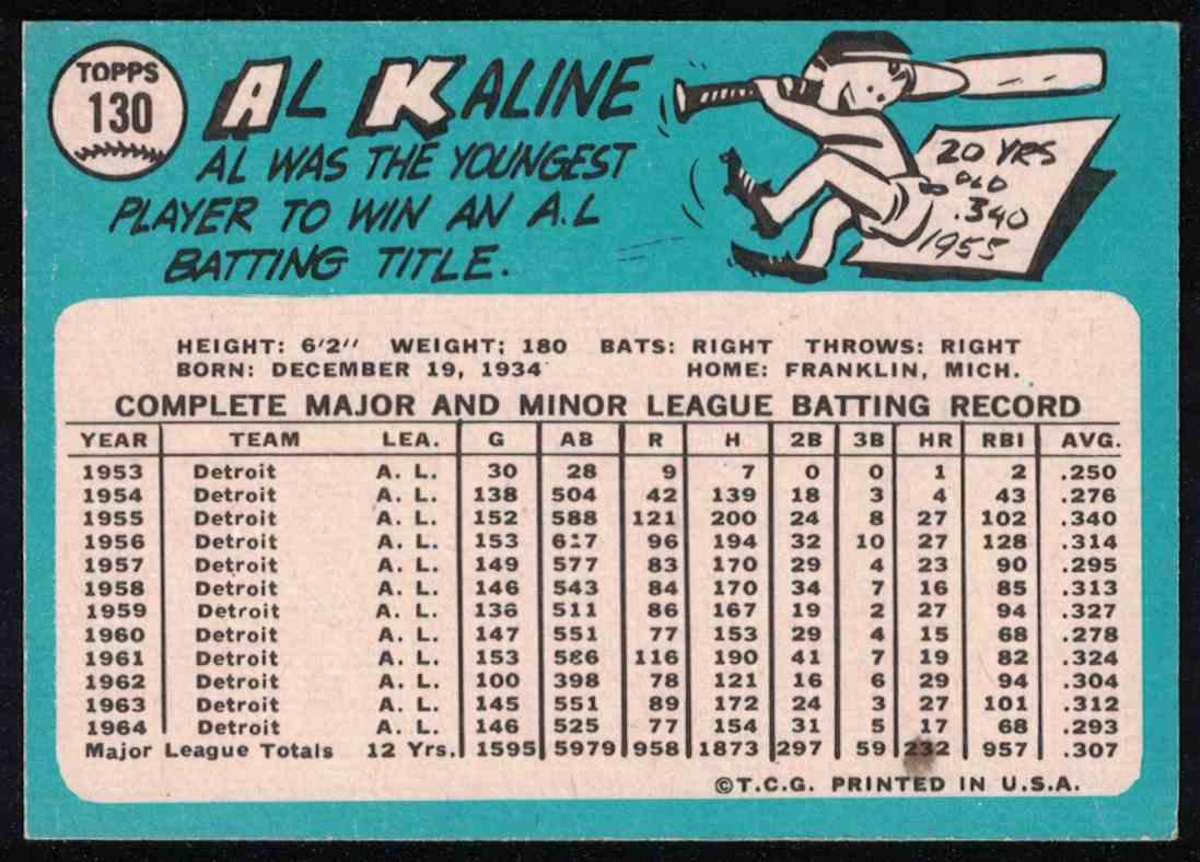 1965 Topps Al Kaline EX+ #130 card back image