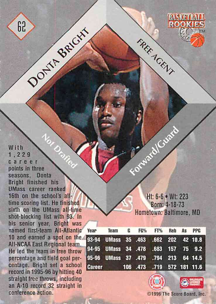 1996-97 Score Board Donta Bright #62 card back image